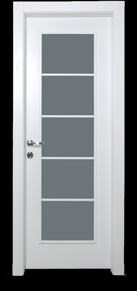 דלת פנים לבנה בשילוב זכוכית חלבית