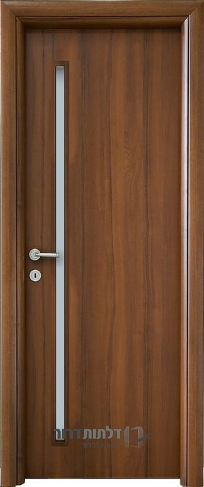 דלת פנים צוהר דקורטיבי מאורך אגוז