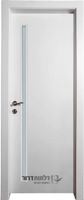 דלת פנים צוהר דקורטיבי מאורך לבן