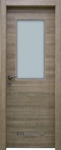 דלתות אקוסטיות דגם קפה-צוהר-מרכזי-אגוז